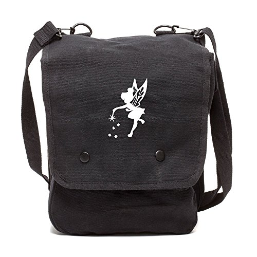 (Grab A Smile Tinker Bell Fairy Peter Pan Canvas Crossbody Travel Map Bag Case Black & White)