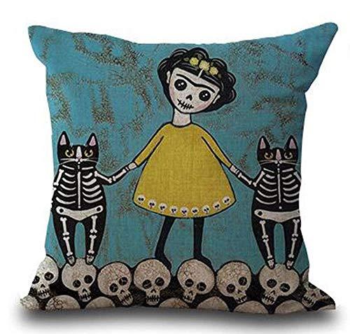Barkcloth Cotton - Fun Qiaoya Oil Painting Cartoon Animal cat Girl Skull Cotton Linen Throw Pillow Cover Cushion Case Holiday Decorative 18 X 18 Inches/45 X 45CM (2)