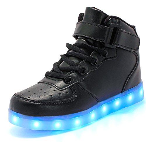 YUTUTU LED allument Haut Haut Lacets et Chaussures de Clignotant de Boucle Pour les Hommes et les Femmes noir2 TC6pLGJugZ