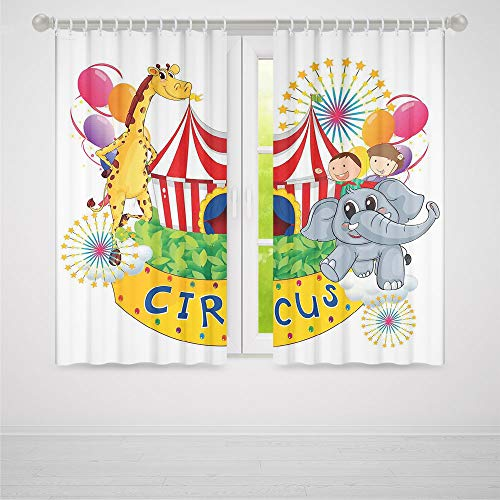 ALUONI Bedroom Blackout Curtains,Circus Decor,Living Room Bedroom Décor,Circus Show with Kids and Animals Smiling Magician Children Happiness Decorative2 Panel Set,70W X 98L Inches ()
