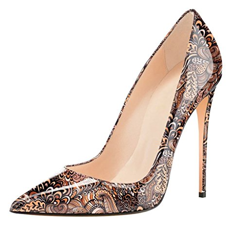 EDEFS Womens Closed Toe High Heel Court Shoes Stiletto Slip-on Evening Dress Pumps Multicolor Brown