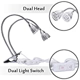 Rozway Premium Dual Head LED Grow Lamp | HIGH YIELDS | TOP 10W Desk Clip LED Plant Lamp W/ 360 Flexible Swivel Gooseneck LED Grow Lights for Indoor Plants, Hydroponic Garden, Greenhouse, Home, Office