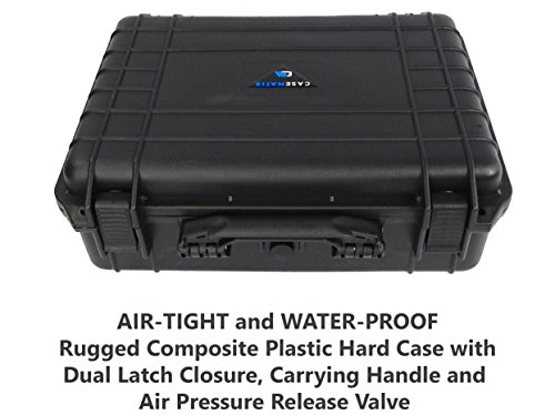 CASEMATIX Waterproof Hard Case Compatible with GooDee 3800i, Apeman, Topvision or Dr J Home Cinema Theater Video Projector with Projector, Cables, Remote, and More
