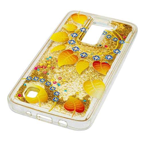 Trumpshop Smartphone Carcasa Funda Protección para LG K7 / LG K8 + Búho + TPU 3D Liquido Dinámica Sparkle Estrellas Quicksand Resistente a arañazos Caja Protectora hojas