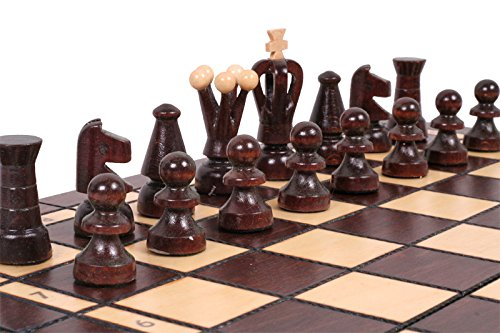 Checkers (Draughts) and Chess Set - Hand Crafted Wooden Pieces, Board with Storage 13,7'' x 13,7'' Travel Size