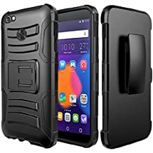 Alcatel Idol 5 Case, Alcatel Nitro 5 Case, BornTech Heavy Duty Dual Layer Build in Kick stand with Belt Clip Holster Combo Rugged Phone Case Cover (Black/Black)