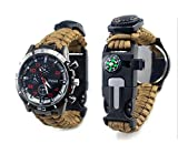 Outdoor sports watch watch lighter life rope compass thermometer,brown