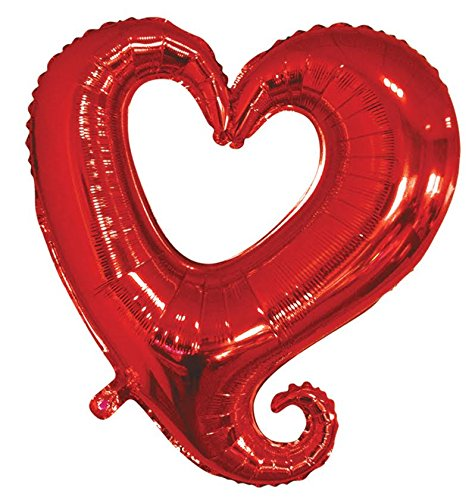 36'' St. Valentine's Day Red Love Heart Wedding Party Helium Mylar Foil Balloons (100) by Balloons and Party