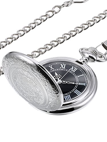 Hicarer Quartz Pocket Watch for Men with Black Dial and Chain (Silver) (Men Pocket Watch)