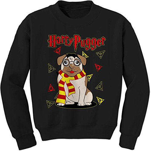Harry Potter Like Scarf (Expression Tees Crew Harry Pugger Pug With Scarf Adult Medium Black)