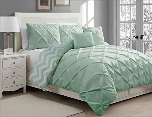 Avondale Manor Ella 5-Piece Duvet Cover Set, Queen, Mint - Manor Comforter Set