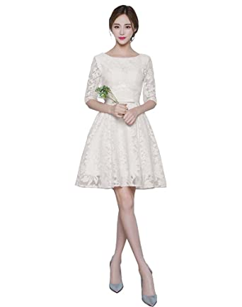 33755623891 Mypuffgirl Women s Bateau Lace Knee Length Party Homecoming Dress With 3 4  Sleeves-Champagne