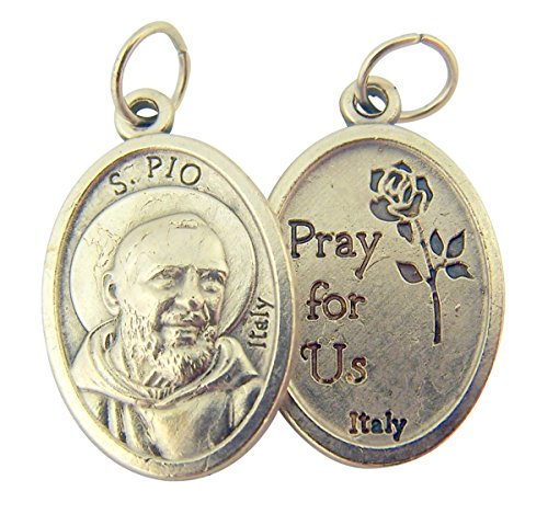 Silver Toned Base Saint Padre Pio Medal, 1 Inch, Set of (Padre Pio Patron Saint)