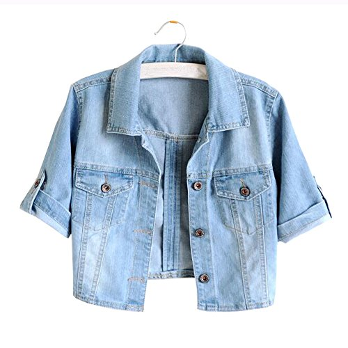 Only Faith Summer Women's Denim Coat Short Turning Sleeve Jean Jacket (2XL, CO3) Womens Ladies Jean Denim Coat