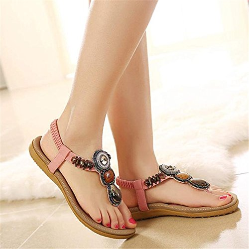 SKY Comfortable to wear it !!! Moda de las mujeres de Bohemia Sweet Beaded Clip Toe Flats Herringbone Sandalias Rosado