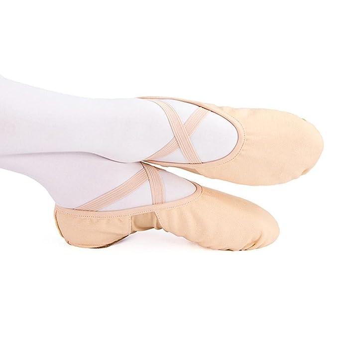 Byjia Leder Ballett Tanzschuhe Voll Sole Erwachsene Und Kinder Größen Yoga Schuhe Leinwand Elastische Katze Schoß Weichen Boden Praxis . Apricot . 24 qaqMej0v8F