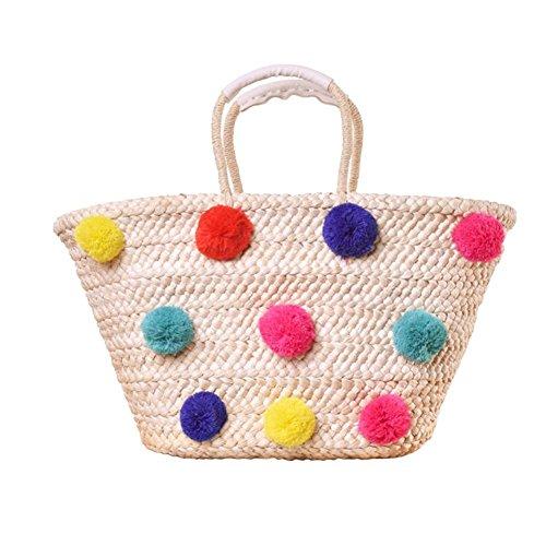 Beach Bag Pom Poms Ball Handbags Straw Rattan Baskets Handbags Women Holiday Shopping Tote Summer Beach Bag Shoulder Bags #1