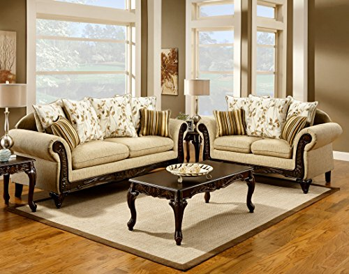 Sand Loveseat (2 pc Doncaster collection Desert Sand Classic Style Sofa and Love seat Set with wood trim - Made in the)