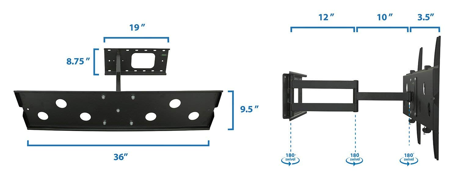 Mount-It! Long Arm TV Wall Mount With 26 Inch Extension, Swing Out Full Motion Design for Corner Installation, Fits 40 50, 55, 60, 65, 70 Inch Flat Screen TVs, 220 Pound Capacity by Everstone (Image #8)