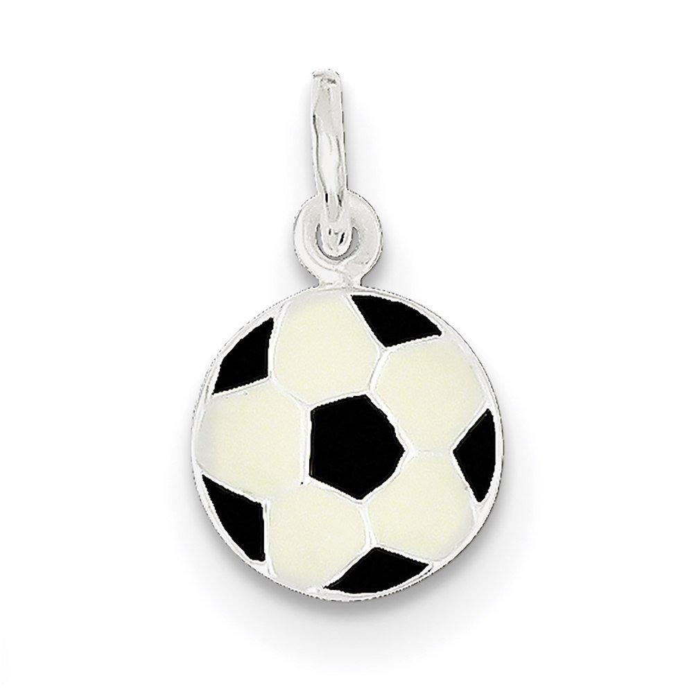 Lex /& Lu Sterling Silver Enameled Soccer Ball Charm LAL105796-Prime