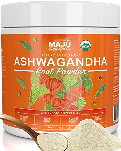 MAJUs Ashwagandha Powder - Organic Root, Supplements Anxiety Relief, Feel Good Mood, Use in India Moon Milk, Adaptogenic Natural Herbs w/Protein for Depression, Best Pure Ashwaganda to Extract, 170g