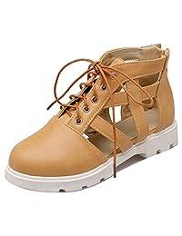 FANIMILA Women Fashion Lace Up Flat Pumps Girls School Cut Out Zipper Shoes