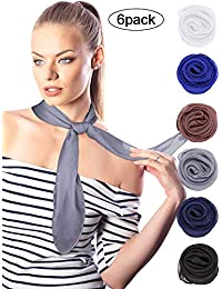Boao Chiffon Scarf Polyester Scarf Bandana Soft Ribbon Scarf Satin Ribbon Scarves for Women and Girls, 27.5 by 27.5 Inches (Set 5)
