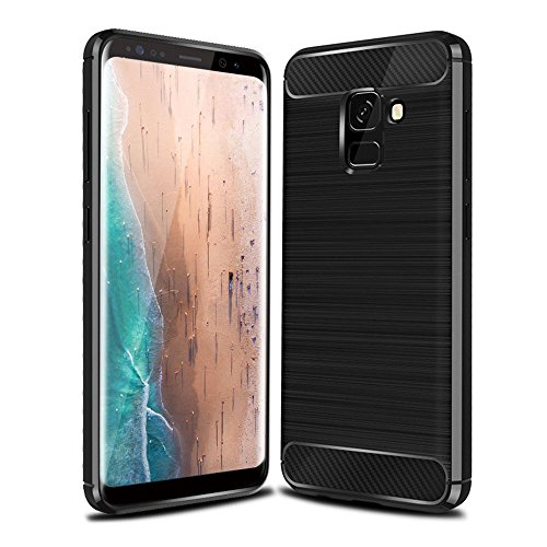 Galaxy A8 Plus Case, Carbon Fiber Silicone Protective Sleeve Shockproof Protection Cover Case for Galaxy A8 Plus (2018), With [Tempered Glass Screen Protector] Anti-Fingerprint (Black)