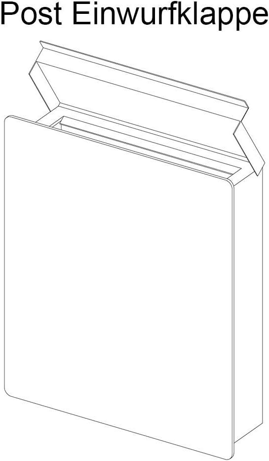 mit Gravur Beschriftung Hausnummer /& Name zur Wand-Montage RAL 7016 Briefkasten Edelstahl Anthrazit mit Zeitungsfach 38,5 x 33 cm gro/ß