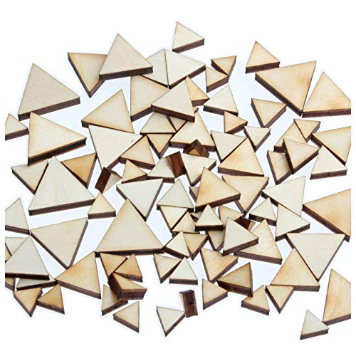 yuhoshop: 100 pcs [Triangle Shaped] Mini Mixed Small Tiny Wooden Embellishments - Scrapbooking Shapes for Craft Decor Button ()