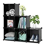HOMFA Cube Storage Organizer, 6 Cubes DIY Plastic Modular Closet Cabinet Storage Organizer, Living Room Office Bookcases Shelves for Books, Cloths, Toys, Shoes, Arts, Black