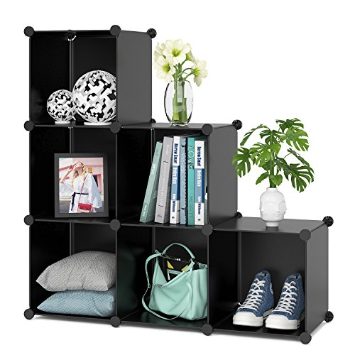 HOMFA Cube Storage, 6 Cubes DIY Plastic Modular Closet Cabinet Storage Organizer, Living Room Office Bookcases Shelves for Books, Cloths, Toys, Shoes, Arts, Black by Homfa