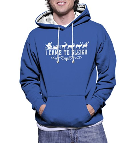 HAASE UNLIMITED Men's I Came to Sleigh Two Tone Hoodie Sweatshirt (Royal Blue/White Strings, - Sleigh Two Tone