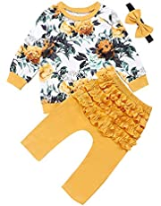 GRNSHTS Newborn Baby Girls Clothes Floral Printed Long Sleeve T-Shirt Tops Ruffle Layer Long Pants with Headband Outfits