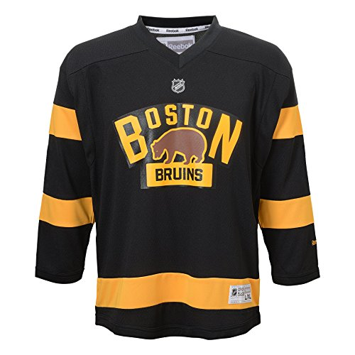 OuterStuff NHL Boston Bruins Boys 4-7 Winter Classic Replica Jersey, 5/6, Black