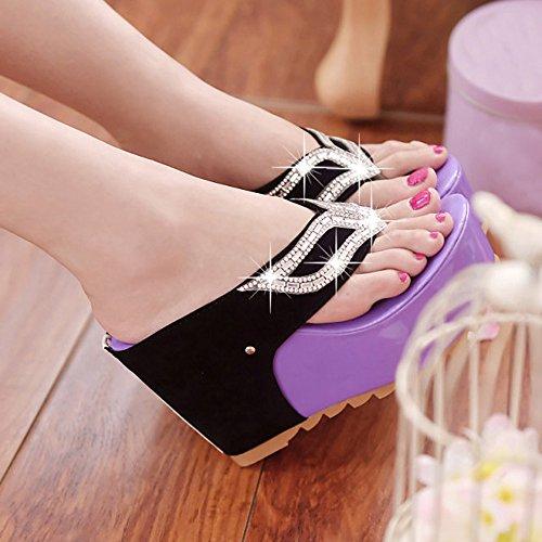 mujeres Diamantes zapatos púrpura de Flip de Ularma imitación las Bohemia sandalias Flops Xg7xqUw