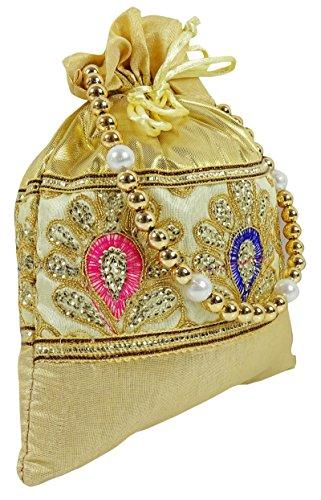 Mujeres Tradicionales Diseño Floral Bolsa Potli Embrazo nupcial hecho a mano - Elija el color Beige