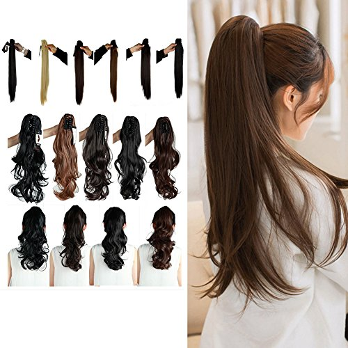 (Synthetic Claw Ponytail Heat Resistant Handy Jaw Pony Tail One Piece Long Wavy Curly Soft Silky for Women Lady Girls 18'' / 18 inch (Dark Brown))