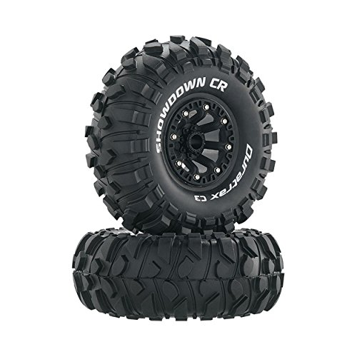 Duratrax Showdown 2.2 Inch RC Rock Crawler Tires with Foam Inserts, C3 Super Soft Compound, High Traction, Mounted on Black Wheels, (Set of 2)