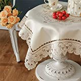 Brown Flower Embroidered lace Cream Tablecloth