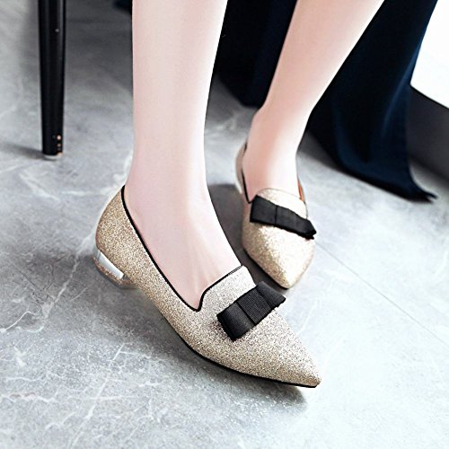 Carolbar Womens Bows Glitter Sequins Pointed Toe Low Heels Loafers Shoes Gold QAMt97VCl