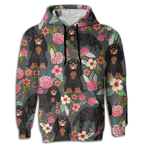 King Charles Spaniel Dog Men Hip Hop Pullover Long Sleeve Youth Sportswear ()