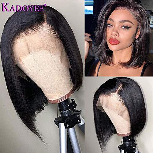 Kadoyee Hair Brazilian Virgin Human Hair 13×4 Lace Front Wigs Glueless Bob Human Hair Wigs Wavy With Baby Hair For Black Women 130% Density 12inch On ()