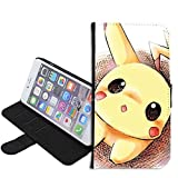 iPhone SE Case, iPhone 5s 5 Case, Pikachu Pokemon PU Leather Folio Flip Wallet Case Cover with ID Credit Card Holder with Stand for iPhone 5s/5/SE + Thewart_Eight® Stylus Pen (#009)