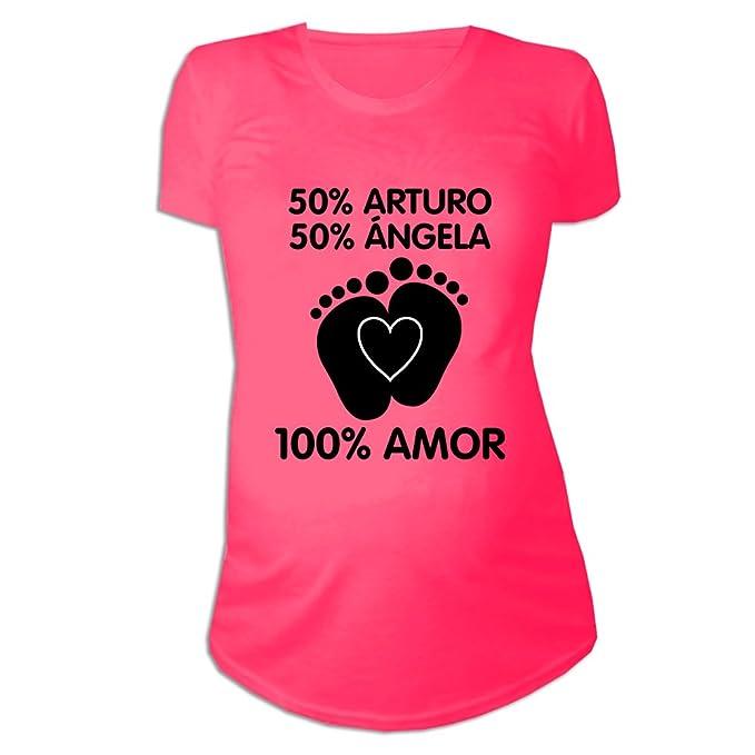 Regalo Personalizable para Mujeres Embarazadas: Camiseta porcentajes Personalizada con los Nombres de la
