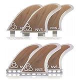 Naked Viking Surf Medium JL Thruster Surfboard Fins (Set of 3) Bamboo, FCS Base