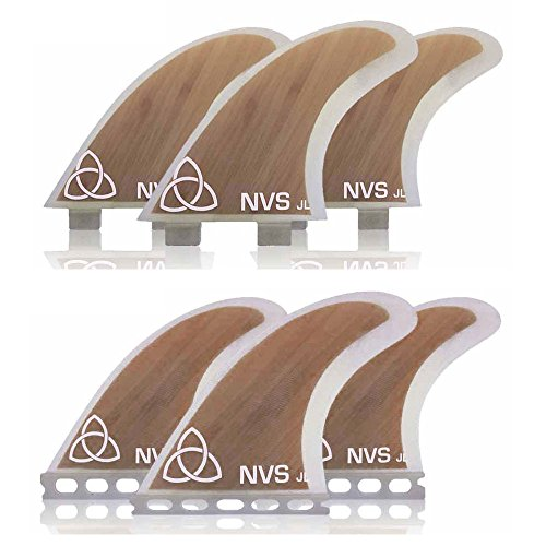 Naked Viking Surf Medium JL Thruster Surfboard Fins (Set of 3) Bamboo, FCS Base