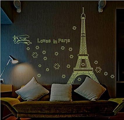 Amaonm Glow in the Dark Wall Decal Loves in Paris Eiffel Tower ...