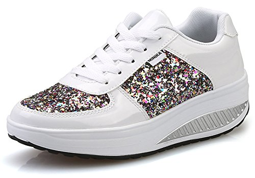 Ausom Women's Cool Gold Silver Sequined Shape Ups Swing Shoes Platform Wedges Walking Fitness Sneaker