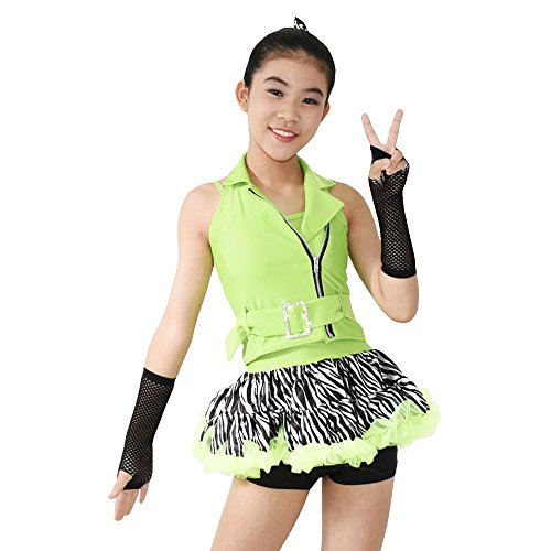 MiDee Jazz Dance Costume Hip Hop Outfits For Girls 5 Pieces Halter Zebra Skirt (SC, Apple Green)